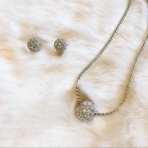 Macy's Silver Pave Round Earring and Necklace Set